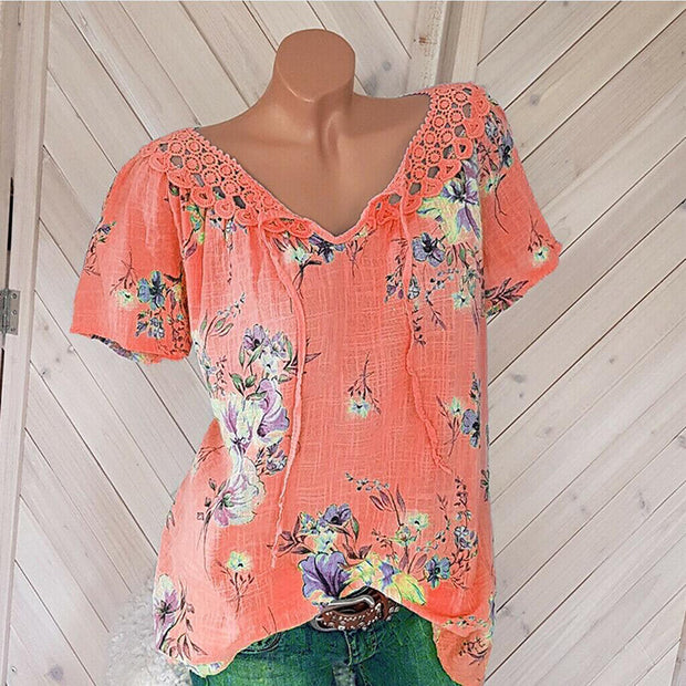 V-neck chiffon print lace-up short sleeve T-shirt
