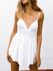 Lace Splicing Spaghetti Strap Romper without Necklace