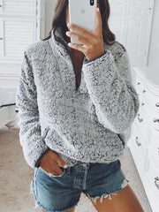 Lapel Long Sleeve Plush Coat