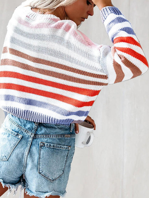 Lazy Style Rainbow Loose Sweater