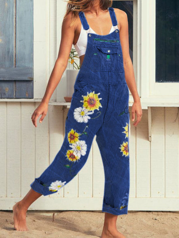 Casual Sunflower Printed Jeans Jumpsuit