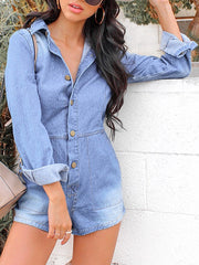 Button Denim Shorts Jumpsuit