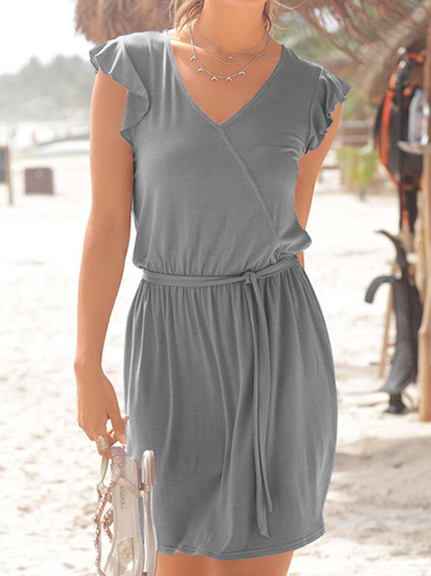 Waist Lace-up Solid Color V-neck Casual Dresses