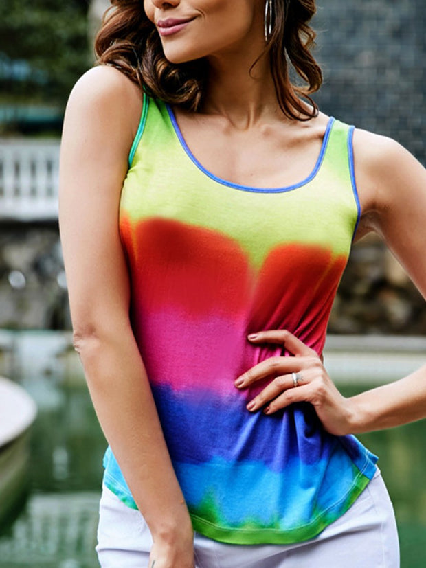 Tie-dye Sleeveless Hollow Out Tank Top