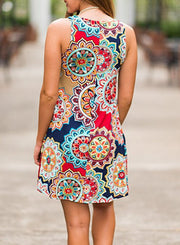 Floral Mandala Printed Sleeveless Mini Dress