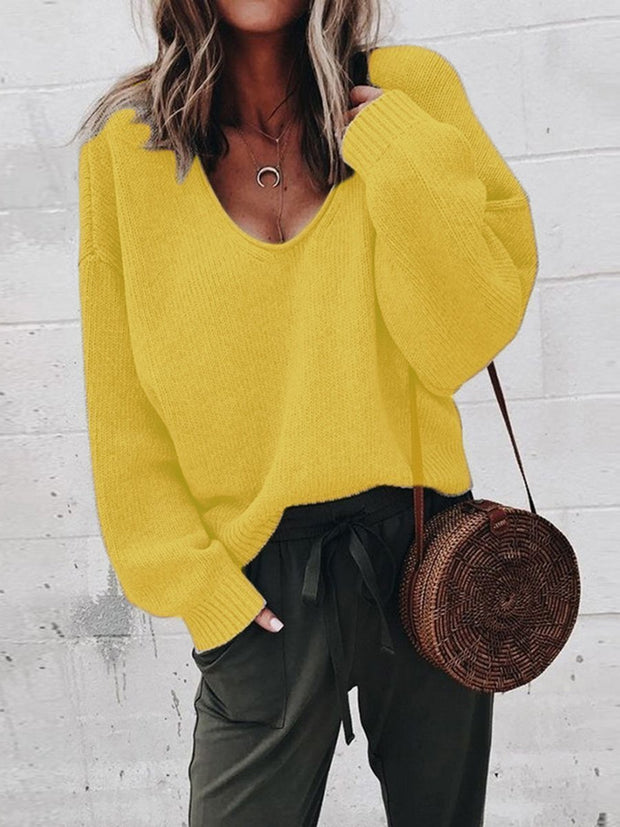 Loose Fitted V-Neck Solid Color Long Sleeves Sweater