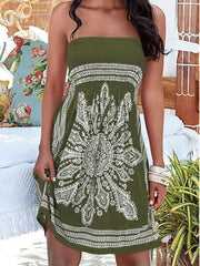 Vacation Style Printing Strapless Floral Dress