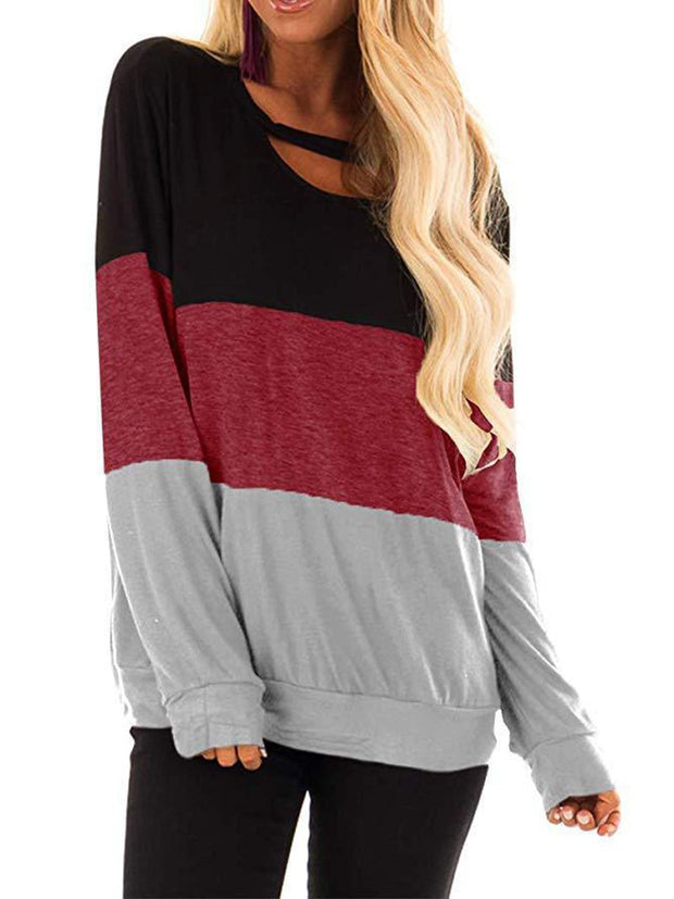 Coloured Long Sleeve Round Collar T-shirt