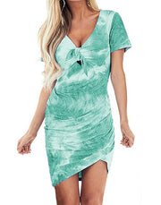 Irregular V-neck tie-dye print dress