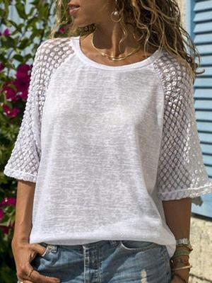 Lace Stitching Round-Neck Blouses