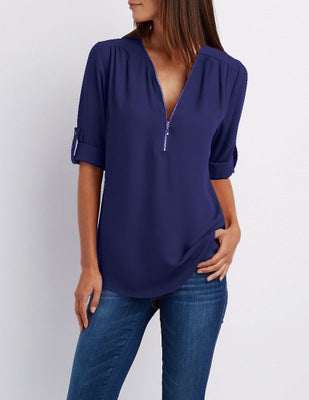 V-neck zipper sleeveless loose chiffon shirt