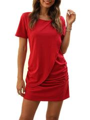 Solid Color Pleating Casual Dresses