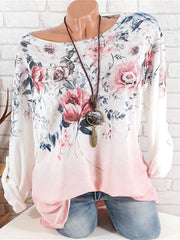Gradient Ramp Round Neck Print Long Sleeve Shirt