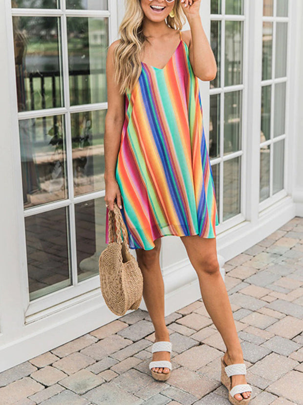 Spaghetti Strap V-Neck Chiffon Colorful Striped Mini Dress