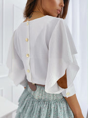 Loose Butterfly Sleeve Back Metal Buckle Blouse