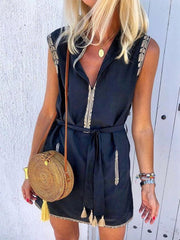 V-Neck Lace-up Sleeveless Shift Dresses