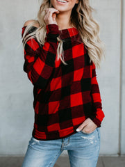 Off Shoulder Plaid Long Sleeves T-shirt