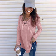 Solid color V-neck bandage loose top T-shirt