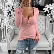 Tight-Fitting Button Open-Chest T-Shirt