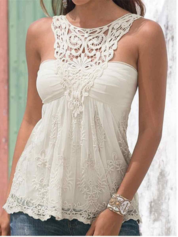 Halter Lace Splicing Solid Color Tank Top