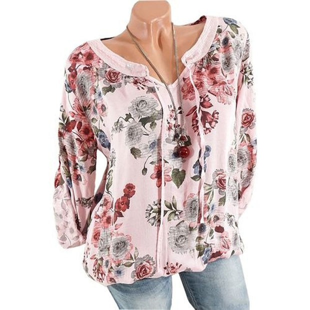 Lace Up Printed Long Sleeve T-Shirt
