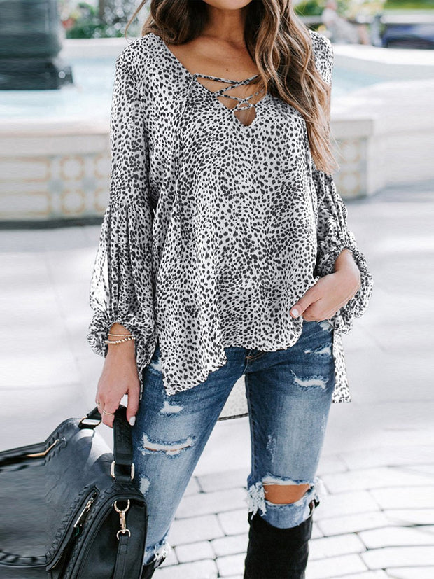 V-Neck Leopard Casual Long Sleeves Blouse