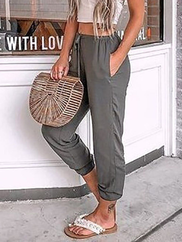 Drawstring Elastic Waist Solid Color Pants