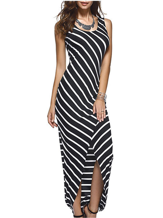 Round Neck Sleeveless Striped Dress