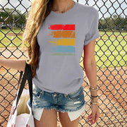 Colorful striped print T-shirt