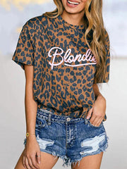 Leopard Blondie Letters Printed T-shirt