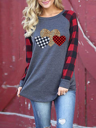 Round Neck Long Sleeves Hearts printed Lattice splicing T-shirt