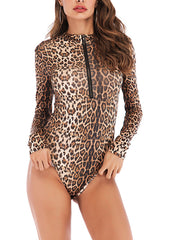 Long Sleeves Leopard One-piece Garment
