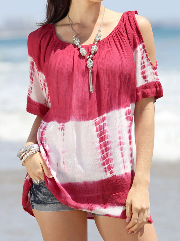 Off Shoulder Tie-dye Loose Blouse