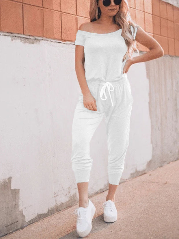Off Shoulder Drawstring Waist Jumpsuit