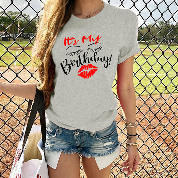 It's My Birthday Red lips print T-shirt