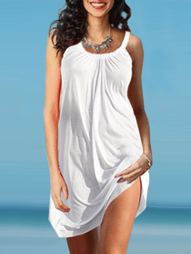 Scoop Neck Solid Color Shift Dress Beach Wear