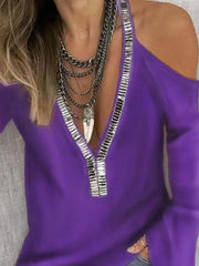 V-Neck Long Sleeves Sequin T-shirt