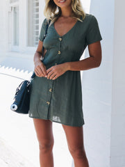 Button Collect waist Solid Color Mini Dress