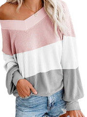 V-neck Bat Sleeve Three Color Patchwork Loose Sweater