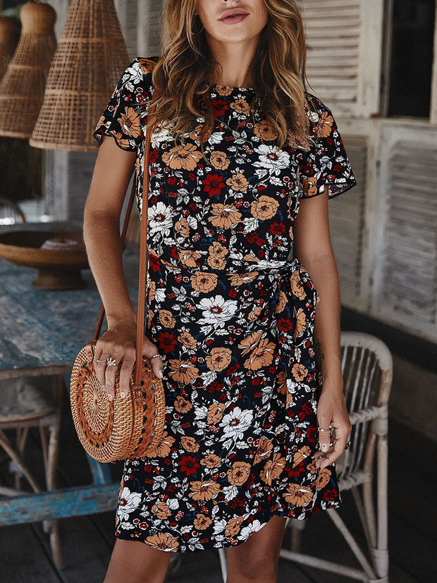 Lace-up Irregularity Floral Dresses