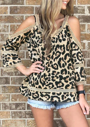 Leopard Printed Lace Splicing Blouse