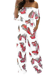 Fashion Off Shoulder High Waist Printing Jumpsuits