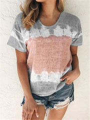 Loose crew neck short sleeve print T-shirt