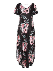 Round Neck Short Sleeves Bohemia Pattern High Slit Floral Dress