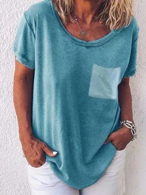 Casual Solid Color T-shirts With Pocket