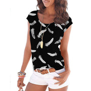 Feather-print crew neck top