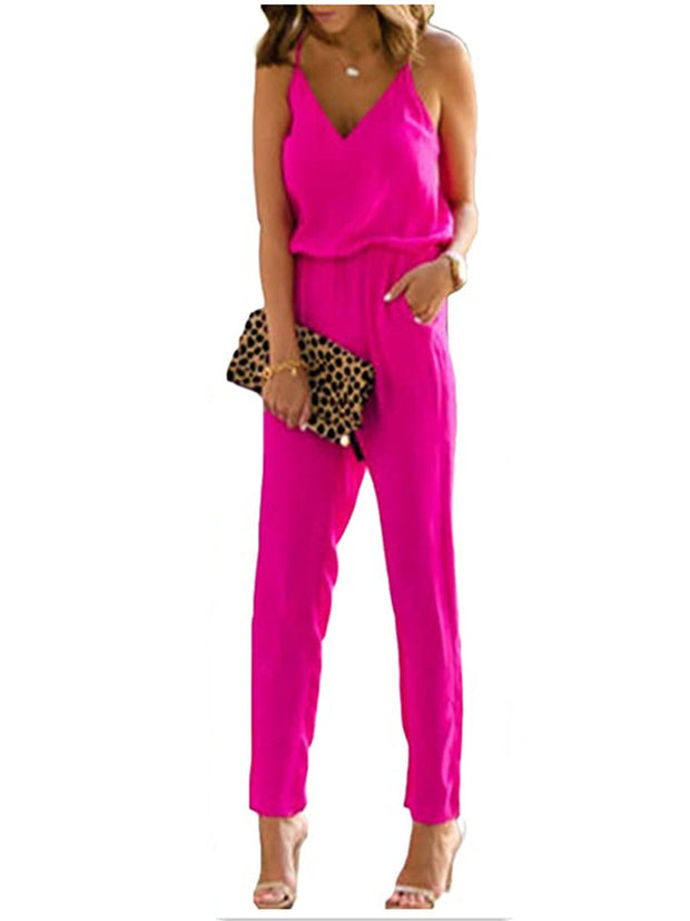V-Neck Straps Solid Color Jumpsuits