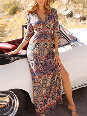 Boho Printing Knitting Maxi Dress