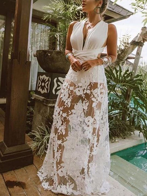 Lace Beach Vacation Backless  Maxi Dress