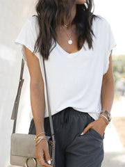 Solid color loose V-neck T-shirt
